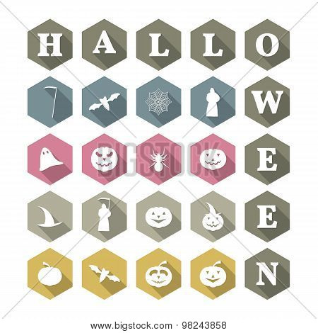 Icons Halloween, Vector Illustration.