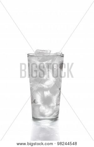 Ice Cubes And Water In Drinking Glass