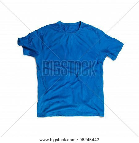 Blue Blank T-shirt For Mockup Isolated On White
