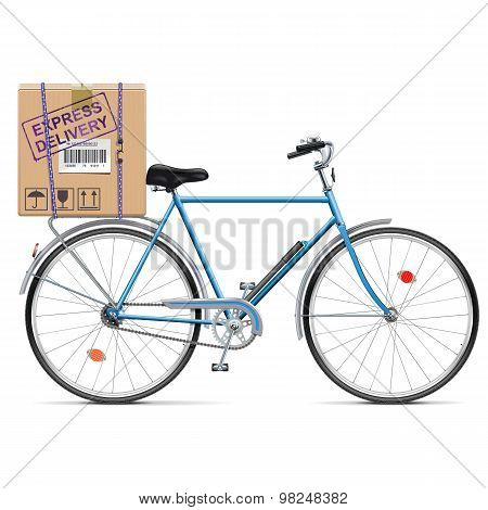 Vector Delivery Bicycle With Carton Box