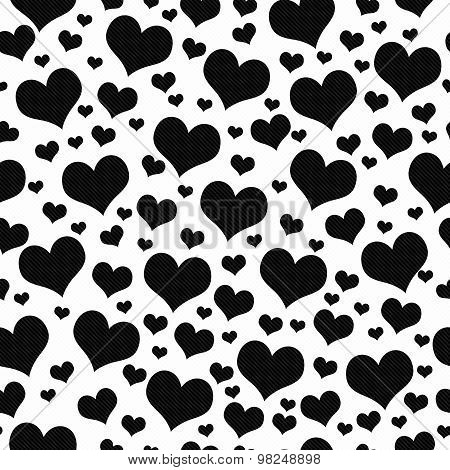 Black And White Hearts Tile Pattern Repeat Background