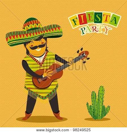 Mexican Fiesta Party Invitation with Mexican man playing the guitar in a sombrero. Hand drawn vector