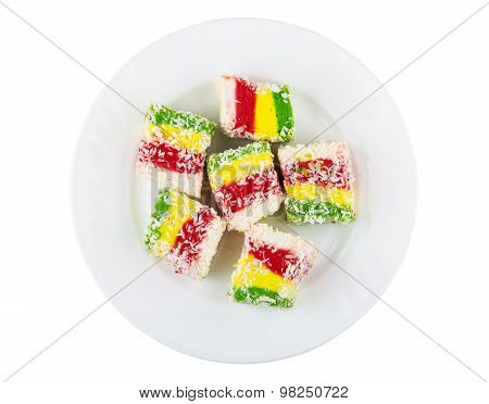 Multicolor Turkish Delight In Glass Plate Isolated On White Background