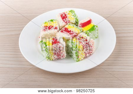 Multicolor Turkish Delight In Glass Plate On Table