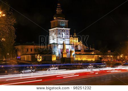 Saint Michael Cathedral Night Traffic Kiev Ukraine
