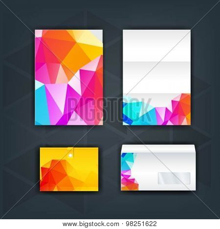 Color brochure template design with pink, blue and yellow shapes. Cover layout