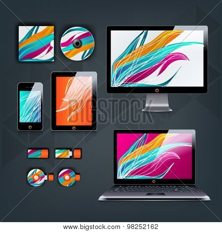 Color application template design for corporate identity with curved shapes. Stationery set