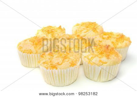 Thailand Dessert.gold Egg Yolk Thread Topped On Cup Cake