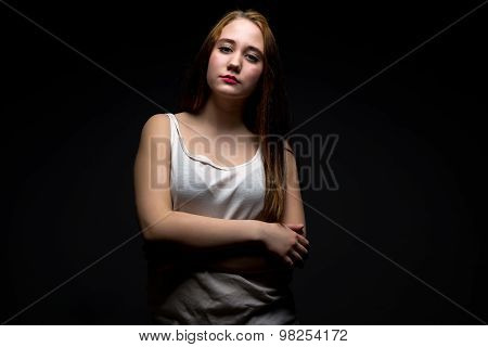 Image of pudgy brunette girl