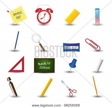 Set of school icons. School supplies. Education icons