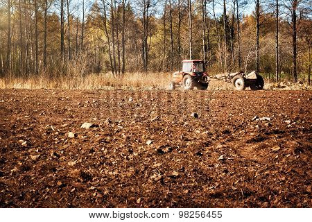 Tractor on pasture