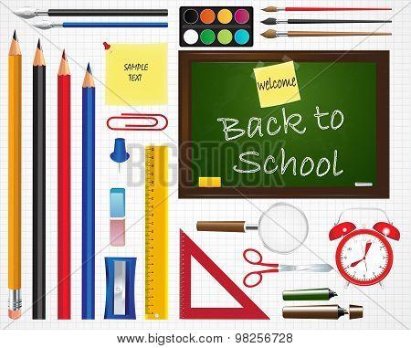 School icons set. School supplies. Education icons