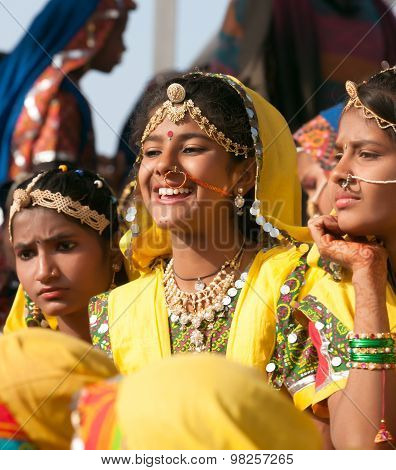 An Unidentified Girls  In Colorful Ethnic Attire Attends At The Pushkar Fair. Pushkar, Rajasthan, In