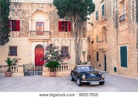Square At Historical Town Mdina, Malta