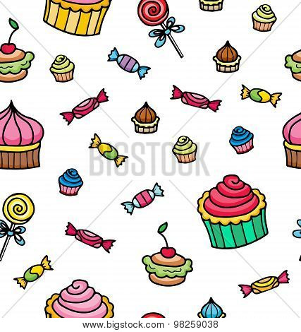 Seamless Pattern With Various Sweets Elements Including Caramel, Lollipops And Cupcakes