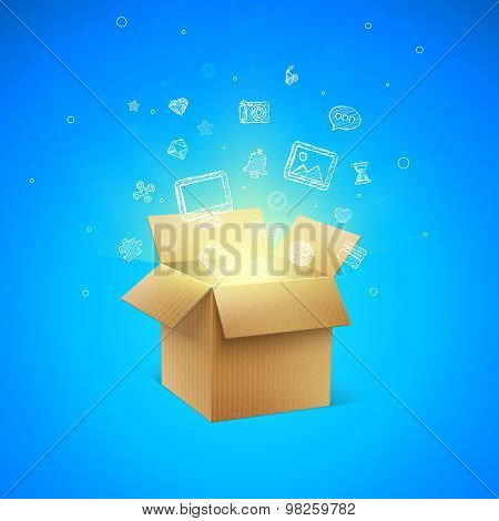 Cardboard Box with Icons, vector illustration