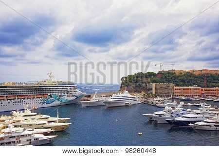 Cruise Liner In Port Hercule, Luxury Ships And Palace On The Mountain