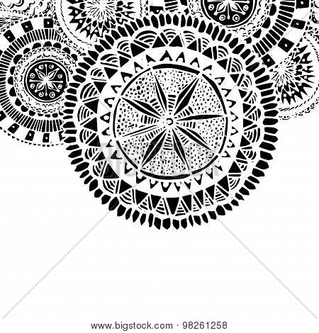 Black and white ornate hand drawn doodles with round mandala elements. Coloring page for adults.