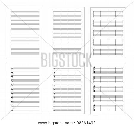 Set of six types music note staves, a4 sheets, isolated on white