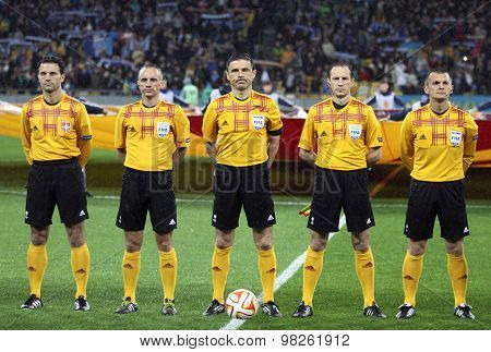Referee Milorad Mazic And His Assistants Before Football Game
