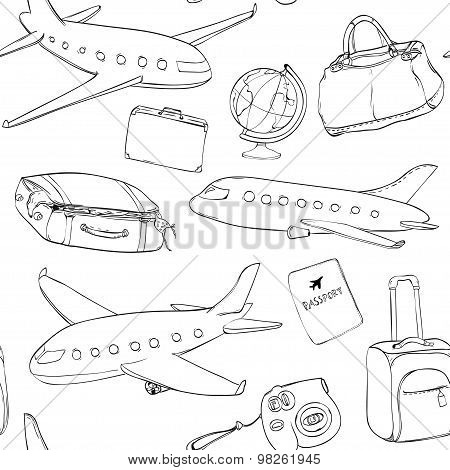 Travel background. Seamless vector pattern with planes, globe, bag and suitcases. Black and white te