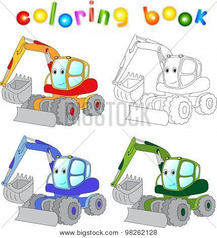 Funny Cartoon Excavator. Coloring Book For Children