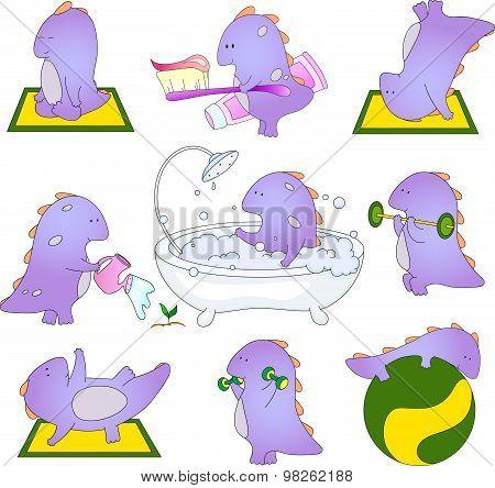 Cute Friendly Dinosaur Doing Exercises, Brushing His Teeth, Takes A Bath