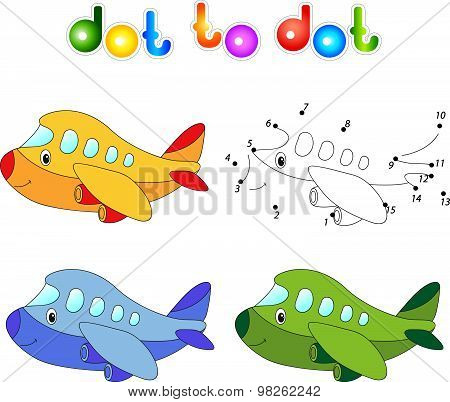 Funny Cartoon Aircraft. Connect Dots And Get Image. Educational Game For Kids