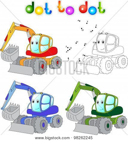 Funny Cartoon Excavator. Connect Dots And Get Image. Educational Game For Kids