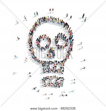 people shape  skull cartoon