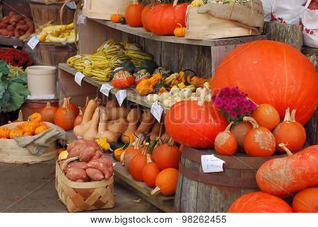 Autumn produce display at country market
