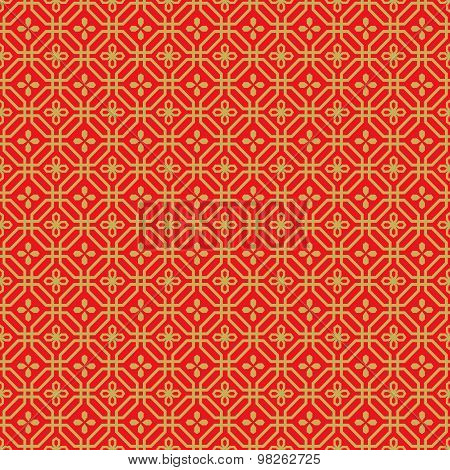 Golden seamless Chinese window tracery polygon flower pattern background.
