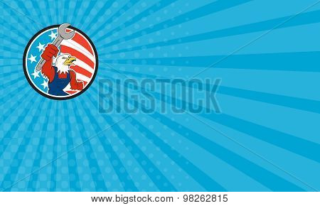 Business Card American Bald Eagle Mechanic Spanner Circle Usa Flag Cartoon