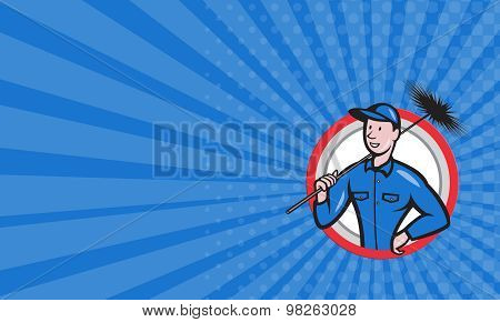 Business Card Chimney Sweeper Cleaner Worker Retro