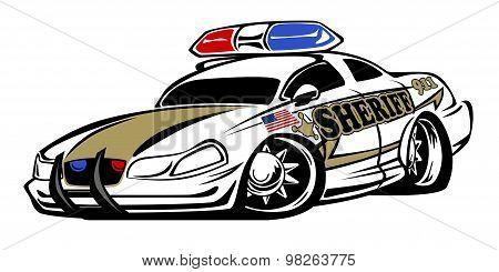 Sheriff Muscle Car Cartoon Cartoon Illustration