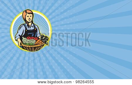 Business Card Organic Farmer Farm Produce Harvest Retro