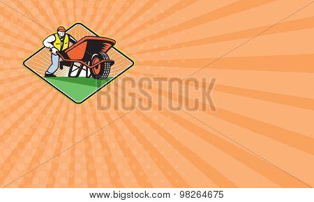 Business Card Gardener Pushing Wheelbarrow Retro