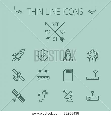 Technology thin line icon set for web and mobile. Set includes - start up, satellite, shield, router, wifi, earphone, memory card, radar. Modern minimalistic flat design. Vector dark grey icon on grey