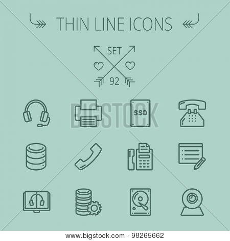 Technology thin line icon set for web and mobile. Set includes - headphones, server, printer, fax machine, telephone receiver, SSD, web cam. Modern minimalistic flat design. Vector dark grey icon on