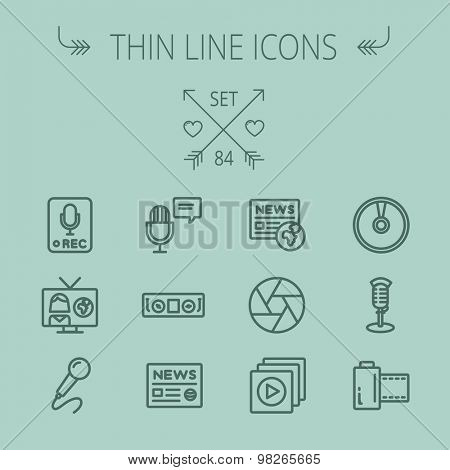 Multimedia thin line icon set for web and mobile. Set includes- for recording only sign, microphone, newspaper, newscaster, casette player icons. Modern minimalistic flat design. Vector dark grey icon