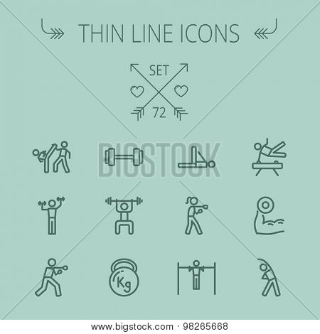 Sports thin line icon set for web and mobile. Set includes-boxing, barbel, exercise, gymnast, karate, boxing icons. Modern minimalistic flat design. Vector dark grey icon on grey background.
