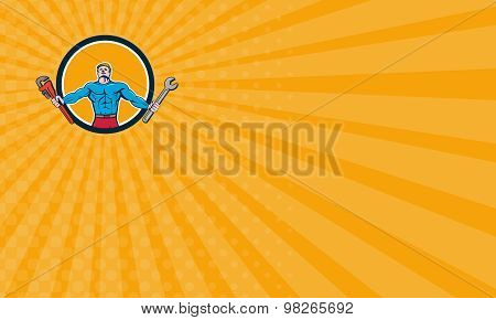 Business Card Superhero Handyman Spanner Wrench Circle Cartoon
