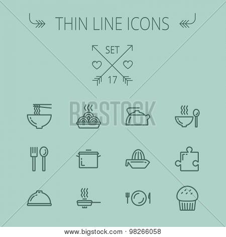 Food thin line icon set for web and mobile. Set includes- cupcakes, spoon and fork, plate, kettle, casserole, hot meal, frying pan icons. Modern minimalistic flat design. Vector dark grey icon on grey