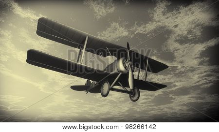 Biplane flying in the sky, vintage style - 3D render
