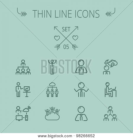 Business thin line icon set for web and mobile. Set includes- seminars, clouds, presentation, computer set, wifi icons. Modern minimalistic flat design. Vector dark grey icon on grey background.
