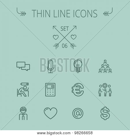 Business thin line icon set for web and mobile. Set includes- calculator, euro, dollar, heart, bulb, speech bubble, tired man, microphone icons. Modern minimalistic flat design. Vector dark grey icon