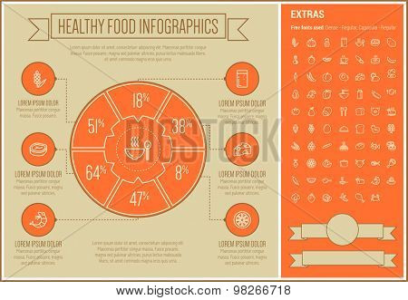 Healthy Food infographic template and elements. The template includes the following set of icons - avocado, egg, cabbage, sandwich, beans, banana, potato, onion and more. Modern minimalistic flat thin