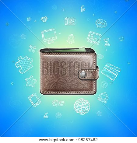 Leather Wallet with Glowing Icons