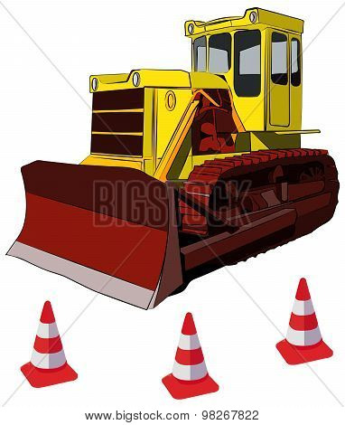 Bulldozer and road cones vector illustration