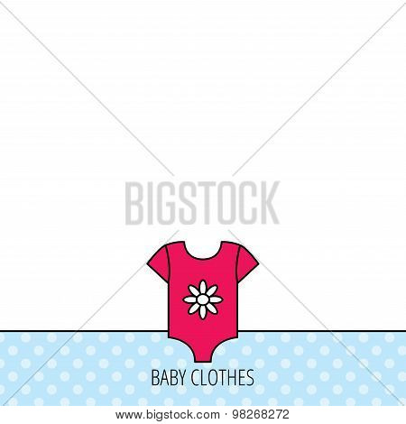 Newborn clothes icon. Baby shirt wear sign.
